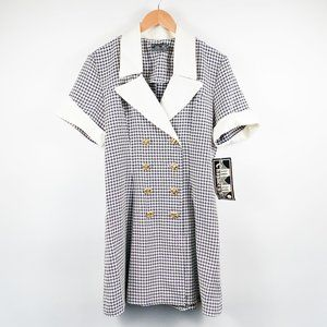 VTG 80s Deadstock Hounds tooth Gold Button Dress